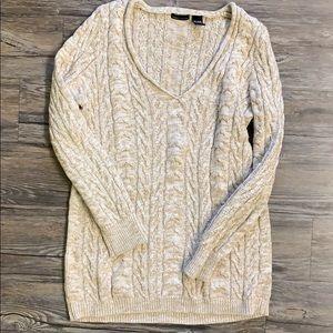 MODA International Cable Knit Cotton Tunic Sweater